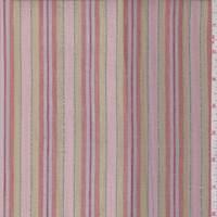 Pale Peach/Avocado Stripe Cotton Lawn
