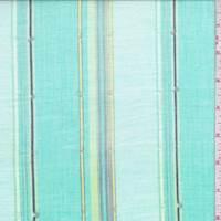 Aquamarine Embroidered Stripe Cotton Lawn