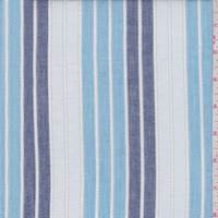 Indigo/Sky Leno Stripe Cotton Lawn