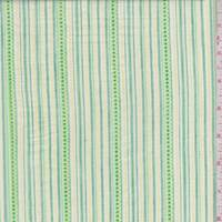 Kelly Green Embroidered Stripe Cotton