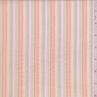 Peach/White Multi Seersucker Stripe Cotton
