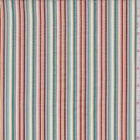 Brick/Teal Multi Seersucker Stripe Cotton