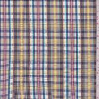 Yellow/Violet Multi Plaid Cotton Seersucker
