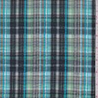 Aqua/Black Plaid Cotton Seersucker