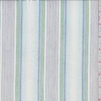 White/Blue Stripe Cotton Lawn