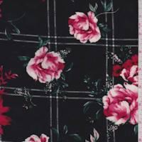 Black Windowpane Floral Rayon Challis