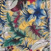 Gold/Royal Tropical Floral Sketch Rayon Challis
