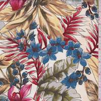 Pale Beige/Berry Tropical Floral Sketch Rayon Challis