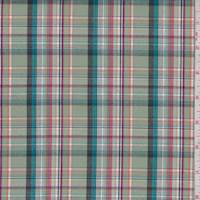Pale Jade Multi Plaid Shirting