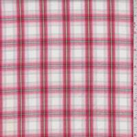 White/Red Shadow Plaid Shirting