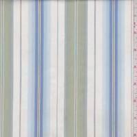 White/Pale Green/Blue Stripe Shirting