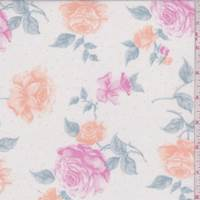 White/Hot Pink Floral Cotton Lawn