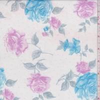 White/Ocean Blue Floral Cotton Lawn