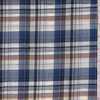 Royal/White/Brown Plaid Cotton Shirting