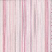 White/Pink Leno Stripe Cotton Lawn