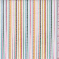 White Multi Seersucker Stripe Cotton