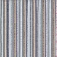 Spa Blue/Black/Gold Seersucker Stripe Cotton