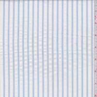 White/Sky Blue Seersucker Stripe Cotton