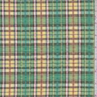 Green/Yellow Multi Plaid Cotton Seersucker