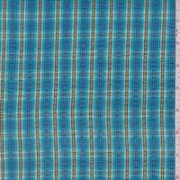 Aqua/Avocado Plaid Cotton Seersucker