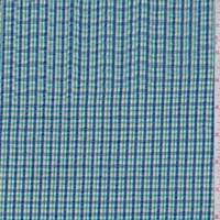 Cadet/Turquoise Mini Plaid Cotton Seersucker
