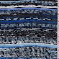 *2 1/2 YD PC--Royal/Black/Sky Southwest Stripe Rayon Challis