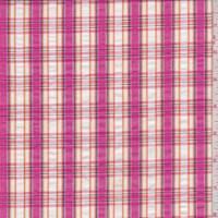 Hot Pink/White Plaid Cotton Shirting