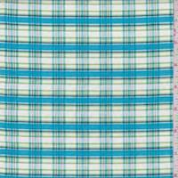 Aqua/White Plaid Cotton Shirting