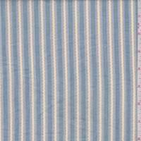 Stone Blue/Yellow Embroidered Stripe Cotton