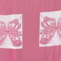 *4 PANELS--Deep Pink/White Butterfly Chiffon