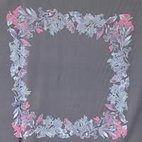 *2 PANELS--Dark Ink Aster Floral Silk Chiffon