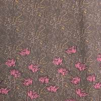 *2 PANELS--Brown/Burgundy Floral Silk Crepe Chiffon
