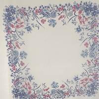 *2 PANELS--White/Iris Floral Stripe Silk Chiffon