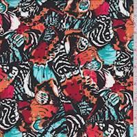 *2 1/2 YD PC--Black/Orange/Red Butterfly Wing Challis