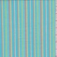 Turquoise Multi Stripe Cotton Lawn
