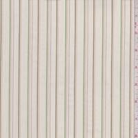 Ecru/Lime/Olive Pinstripe Cotton Poplin
