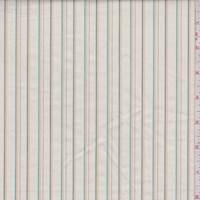 Ecru/Aqua/Buff Pinstripe Cotton Poplin