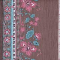 Nutmeg Floral Stripe Crinkle Chiffon