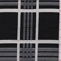 *2 1/4 YD PC--Black/White Jacquard Plaid Cotton