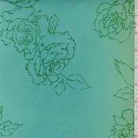 Jade/Turquoise Metallic Floral Chiffon