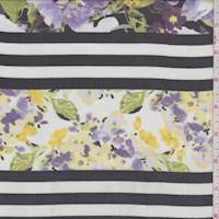 White/Black/Purple Stripe Floral Chiffon