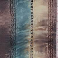 Teal/Beige/Brown Marble Embroidered Chiffon