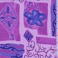 *2 5/8 YD PC--Lilac Pink/Purple Floral Block Print Georgette