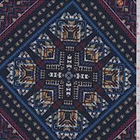 * 2 1/2 YD PC--Navy/Magenta Multi Diamond ITY Jersey Knit