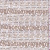 *2 1/4 YD PC--White/Copper Medallion Wool Blend Boucle