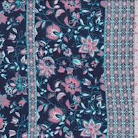 Midnight/Coral Stylized Floral Crepon
