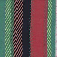 Rust/Jade/Gold Herringbone Stripe Rayon Challis