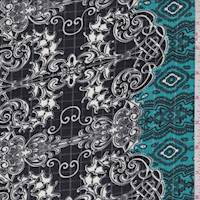 Black/Teal/White Baroque Ripstop Crepe De Chine
