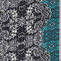Black/Teal/White Baroque Ripstop Crepe De Chine