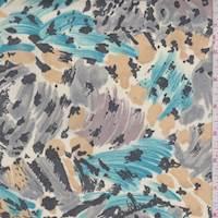 Beige/Aqua/Tan Cheetah Brushstroke Chiffon